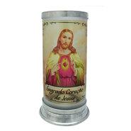 Suporte para Vela Vidro Jateado Sagrado Coração de Jesus