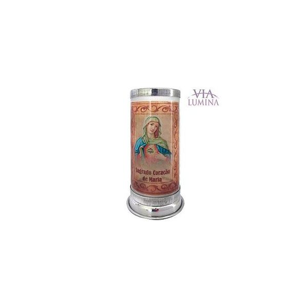 Suporte para Vela Vidro Jateado Sagrado Coração de Maria