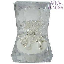 Terço Prateado - Cristal Irizado -Transparente -  5mm - Embalagem Especial