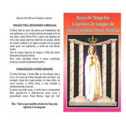 Folheto - Reza do Terço das Lágrimas Nossa Senhora Rosa Mística
