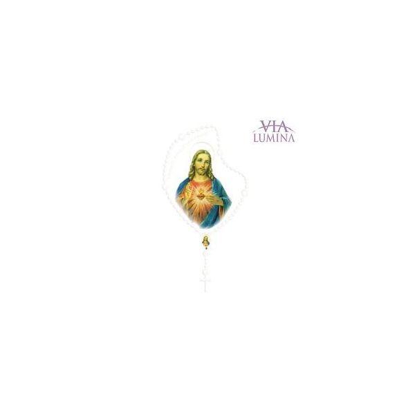 Adesivo Sagrado Coração de Jesus - Terço Branco