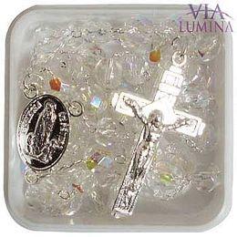 Terço Prateado - Cristal Irizado - Transparente