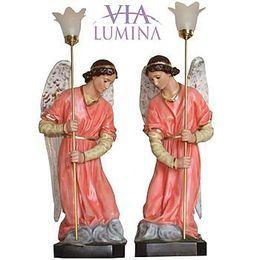 Conjunto de Anjos Adoradores com Luminária - Resina - Rosa - 78cm