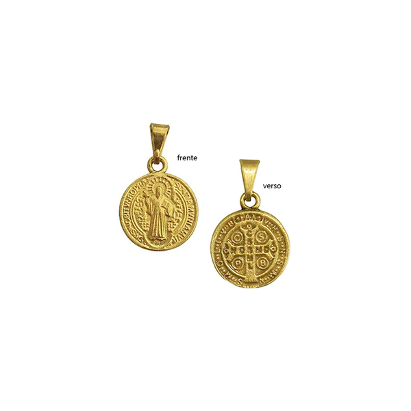 Medalha de São Bento com oração - Dourada