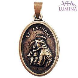 Medalha de Santo Antônio em Metal - Ouro Velho - 2cm