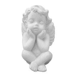 Anjo da Guarda de Gesso Branco de 10,5cm Com Mãos no Queixo