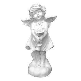 Anjo da Guarda de Gesso Branco de 25cm com Flor nas Mãos