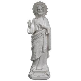 Sagrado Coração de Jesus de Gesso Branco de 30cm com Manto Trabalhado