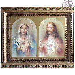 Quadro do Sagrado Coração de Jesus e Maria - 53cm