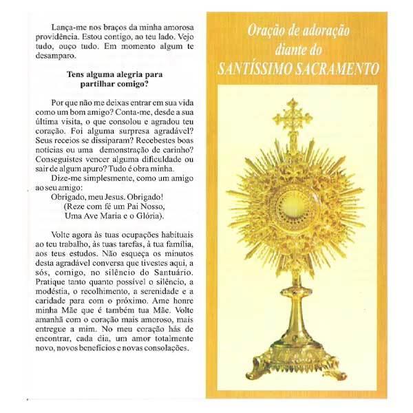 Folheto da Oração de adoração do Santíssimo Sacramento