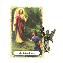 Imagem de São Rafael de Bolso Ouro Velho com Oração - 2,5cm