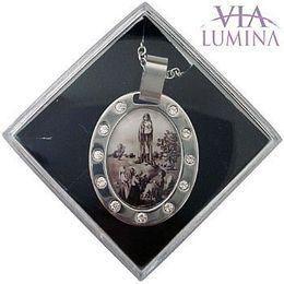 Corrente e Medalha em Aço Inox - Nossa Senhora de Fátima - 30mm