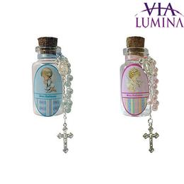 Lembrança de Batismo - Vidro para Água Benta com Mini Terço - Anjo