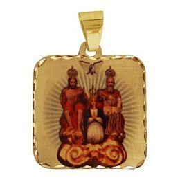 Medalha em Ouro Quadrada Borda Trabalhada