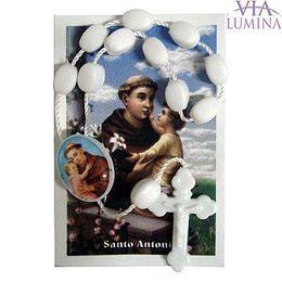 Mini Terço Plástico Branco com Oração (pacote com 12)