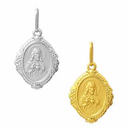 Medalha em Ouro do Sagrado Coração de Jesus - Losango