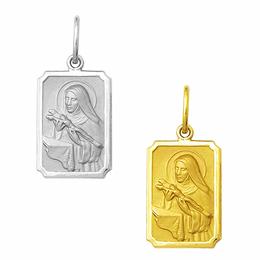 Medalha em Ouro de Santa Rita - Retangular