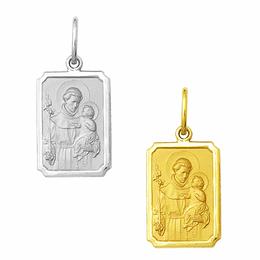 Medalha de Santo Antônio em Ouro - Retangular