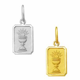 Medalha em Ouro do Cálice da Primeira Comunhão - Retangular