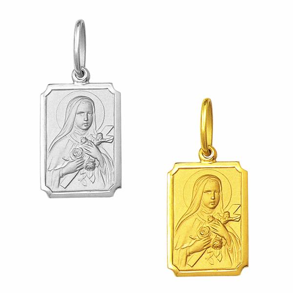 Medalha em Ouro de Santa Teresinha - Retangular