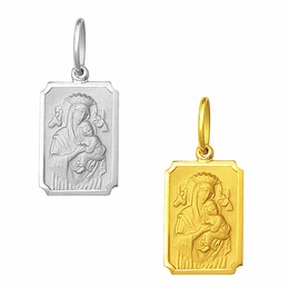 Medalha em Ouro de Nossa Senhora do Perpétuo Socorro - Retangular