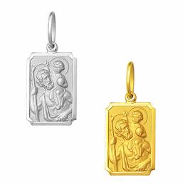 Medalha de São Cristóvão em Ouro - Retangular