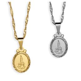 Medalha Folheada Diamantada de Nossa Senhora de Fátima