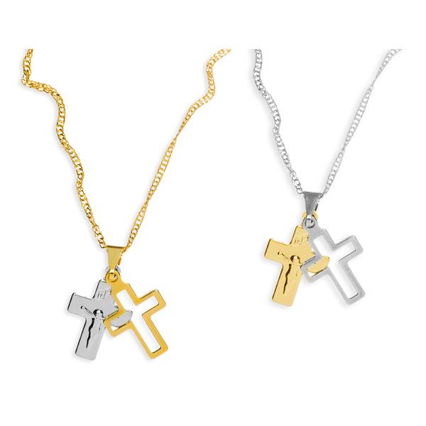 Crucifixo Duplo Folheado A PARTIR DE R$ 7,38