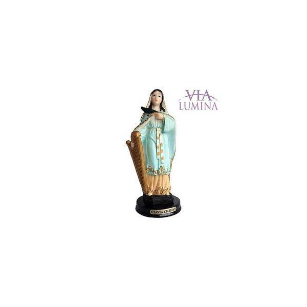 Imagem de Santa Cecilia em Resina de 14cm