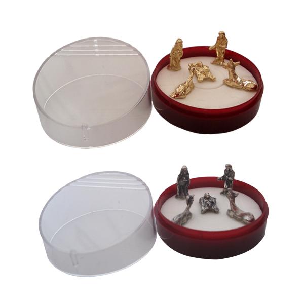 Mini Presépio - Dourado ou Prata Velha - Caixa Redonda