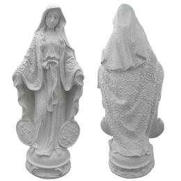 Nossa Senhora das Graças, Medalha Milagrosa - Gesso Branco - 30,5cm