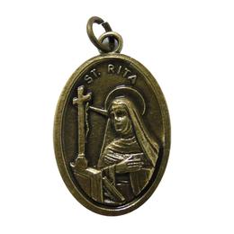 Medalha de Santa Rita em Banho Ouro Velho