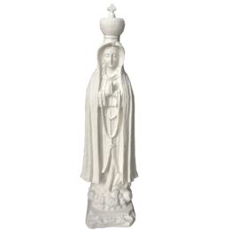 Nossa Senhora de Fátima com Manto Trabalhado - Gesso Branco - 44cm
