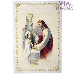 Santinho de Papel da Primeira Eucaristia - Pacote c/ 100