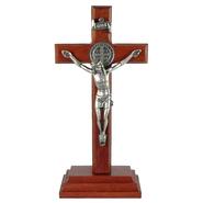 Crucifixo de Madeira para Mesa com São Bento - 12cm