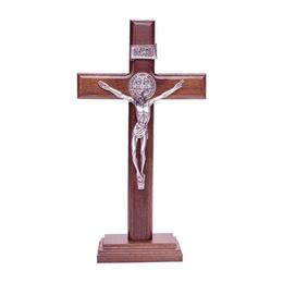 Crucifixo de Madeira para Mesa com São Bento - 26cm