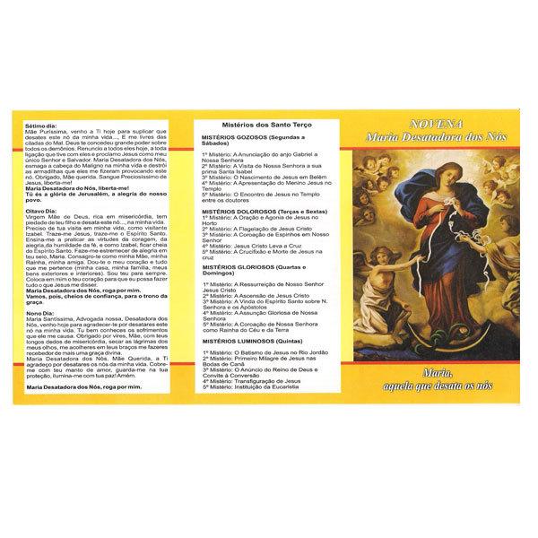 Folheto da Novena de Nossa Senhora Desatadora dos Nós
