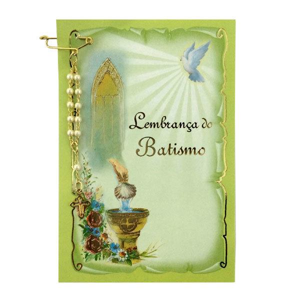 Lembrança de Batismo com Mini Terço de Lapela