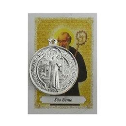 Medalha de São Bento com Oração - Prateada