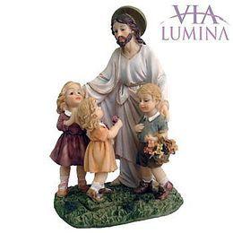Jesus com Crianças - Resina - 12cm