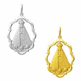 Medalha de Nossa Senhora Aparecida em Ouro Trabalhada