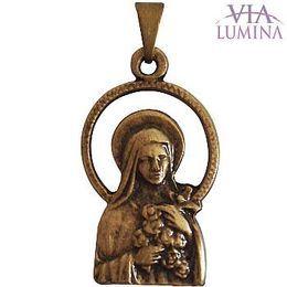 Medalha de Santa Terezinha - Ouro Velho - Vazada