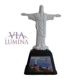 Cristo Redentor com Imagens do Rio - Plástico - 14cm