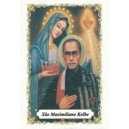 São Maximiliano Kolbe - Pacote c/ 100 Santinhos de Papel