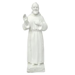 Imagem de Padre Pio em Gesso Branco de 22cm