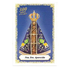 Nossa Senhora Aparecida - Fundo Azul - 300 anos de Jubileu - Pacote c/100 Santinhos de Papel