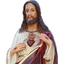 Imagem Sagrado Coração de Jesus c/ olhos de vidro - Resina - 63cm