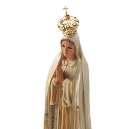 Imagem de N. Sra. de Fátima Envelhecida com Olhos de Vidro de 35cm - Importada de Portugal