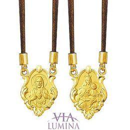 Escapulário em Ouro com Medalhas Ornato - Cordão Marrom
