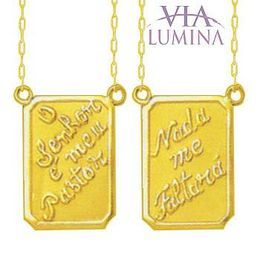 Escapulário em Ouro com Medalhas Retangulares - Salmo